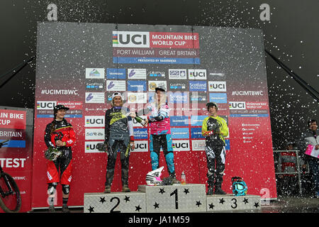 Womens Podium at the Mountain Bike World Cup, Fort William ...