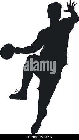 Ein Handballer beim entschlosssenen Sprungwurf auf das Tor - Stock Photo
