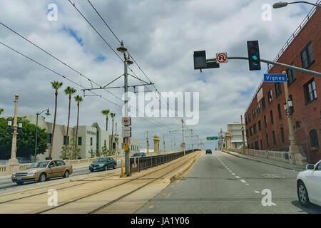 Los Angeles, MAY 25: Scene of 1st street bridge on MAY 25, 2017 at Los Angeles, California, U.S.A. - Stock Photo