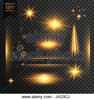 set of transparent lights, sparkles and lens flare effect background - Stock Photo