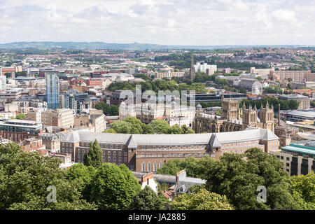 Bristol, England - July 17, 2016: Bristol City Hall, cathedral and cityscape viewed from the Cabot Tower. - Stock Photo