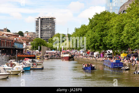 Bristol, England - July 17, 2016: People line Bristol's historic harboursides during the annual Harbour Festival. - Stock Photo