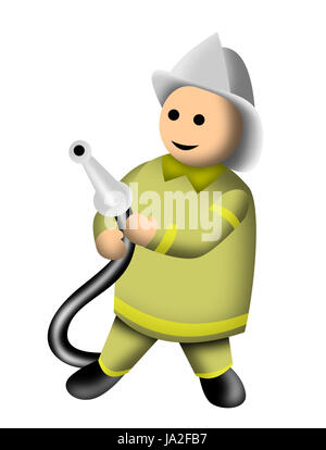 illustration of a fireman fire fighter done in 3d cartoon style isolated on white - Stock Photo