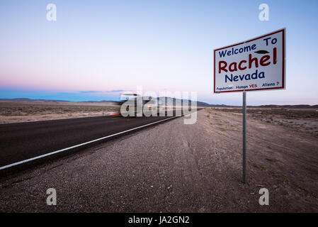 Welcome sign entering the tiny town of Rachel, Nevada, on the Extraterrestrial Highway (state highway 375) near - Stock Photo