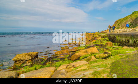 Walkers on the colourful mossy Path along the Swanage Bay - Stock Photo