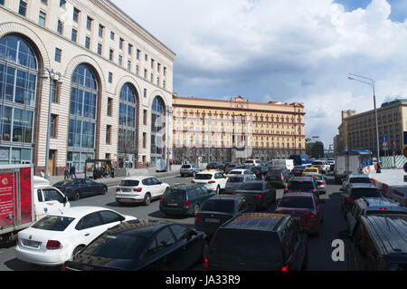 Moscow: the Lubyanka building, popular name for the headquarters of the Kgb and affiliated prison on Lubyanka Square, - Stock Photo