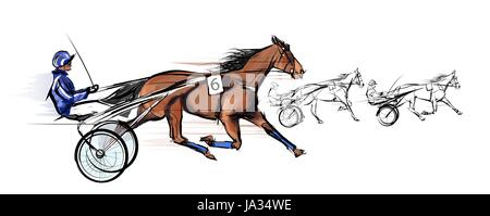 Horse carriage racing - vector illustration - Stock Photo