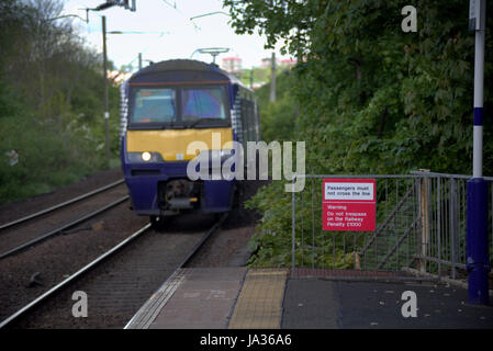 scotrail train station  station platform Drumchapel - Stock Photo