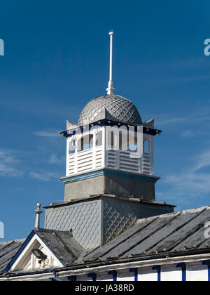Ornate, decorative square cupola with zinc fishscale domed roof and finial on Eastbourne Pier, East Sussex, England, - Stock Photo