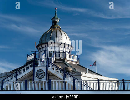 Ornate domed cupola and zinc roof with finial of the Camera Obscura, Eastbourne Pier, East Sussex, England, UK. - Stock Photo