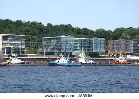traffic, transportation, navigation, seafaring, harbor, transport, hamburg, - Stock Photo