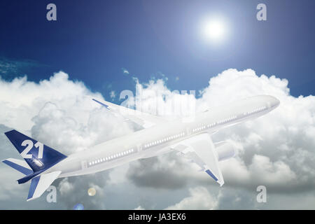 Aircraft is flying in blue cloudy sky - Stock Photo