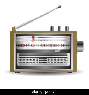 colorful illustration with retro radio for your design - Stock Photo