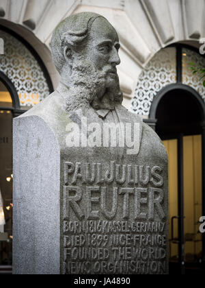 Bust of Paul Julius Reuter near the Royal Exchange in the City of London. Pioneer of telegraphy and journalism, - Stock Photo