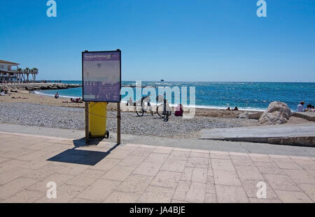 PORTIXOL/MOLINAR, MALLORCA, BALEARIC ISLANDS, SPAIN - APRIL 10, 2016: Molinar beach and bicycles on April 10, 2016 - Stock Photo