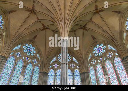 Chapter House Salisbury Cathedral Wiltshire UK - Stock Photo
