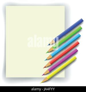 set of colorful pencils and paper for your design - Stock Photo