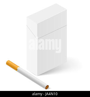 Closed full pack of cigarettes. Illustration on white - Stock Photo