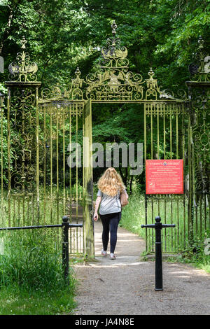 A female student passes through the entrance gate from the 'Backs' to St John's college, university of Cambridge, - Stock Photo
