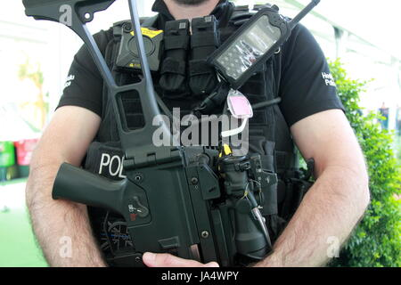 Armed police at Hay Festival 2017, Hay-on-Wye, Brecknockshire, Powys, Wales, Great Britain, United Kingdom, UK, - Stock Photo