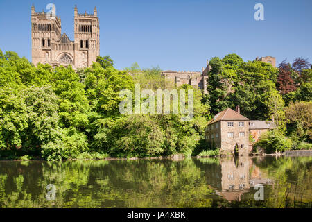 Durham Cathedral, the Old Fulling Mill, now an archaeological museum, and the River Wear, County Durham, England, - Stock Photo