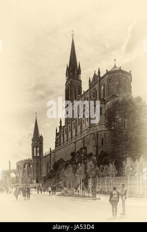 France, Hautes Pyrenees, Lourdes, Sanctuary Basilica of Our Lady of Lourdes - Stock Photo