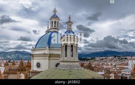 Blue Dome of Inmaculada Concepcion Cathedral and aerial view of Cuenca city  - Cuenca, Ecuador - Stock Photo