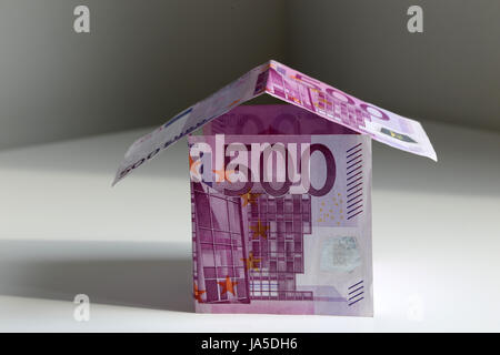 A House Bulit From 500 Euro Bills Symbol Of Building A House And