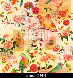 Toned seamless pattern with hand drawn watercolor birds, flowers and butterflies, and scraps of stylized pieces - Stock Photo