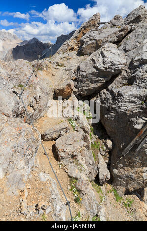 blue, travel, stone, tourism, dolomites, alps, hike, go hiking, ramble, summer, - Stock Photo
