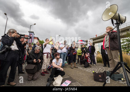 Stop the Arms Fair. Anti-war protest outside Excel Centre in east London, UK. - Stock Photo