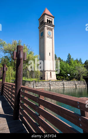 The railing of a bridge leading to the famous clock tower in Riverfront Park in Spokane, Washington. - Stock Photo