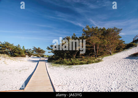 steg and white sandy beach on bornholm - Stock Photo