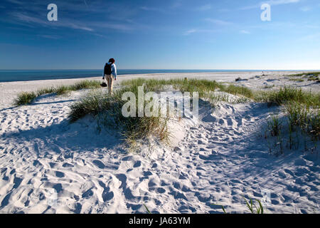 white sand beach on bornholm - Stock Photo