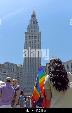 Celebrating LGBT Pride in downtown Cleveland, Ohio, United States on June 3, 2017. - Stock Photo