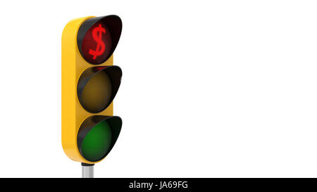 3d illustration of traffic light. conceptual design with dollar symbol. suitable for economy and business themes. - Stock Photo