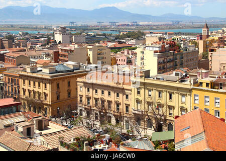 Cityscape of Cagliari, Sardinia, Italy - Stock Photo