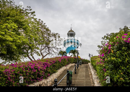 Lighthouse on top of the 444 stairs of Santa Ana Hill staircase - Guayaquil, Ecuador - Stock Photo