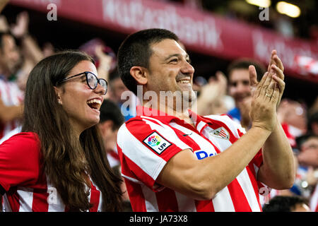 Bilbao, Spain. 24th Aug, 2017. Supporters of Athletic celebrates the first goal of his team during the football - Stock Photo