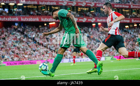 Bilbao, Spain. 24th Aug, 2017. Andres Chavez (Forward, Panathinaikos FC) in action during the football match of - Stock Photo