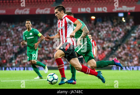 Bilbao, Spain. 24th Aug, 2017. Iñigo Cordoba (Mildfierd, Athletic Club) in action during the football match of 3rd - Stock Photo