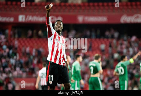 Bilbao, Spain. 24th Aug, 2017. Iñaki Williams (Forward, Athletic Club) celebrates the victory of his team during - Stock Photo