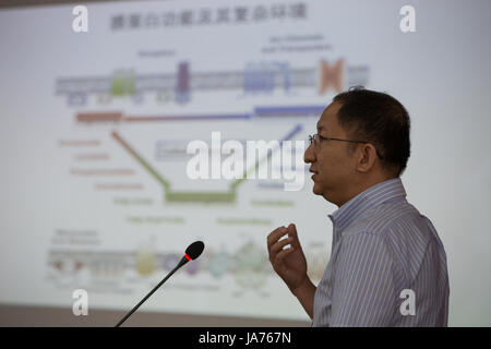 (170825) -- BEIJING, Aug. 25, 2017 (Xinhua) -- Wang Junfeng introduces academic research progress to media in Hefei, - Stock Photo