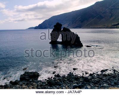 blue, monument, stone, arch, beach, seaside, the beach, seashore, formation, - Stock Photo