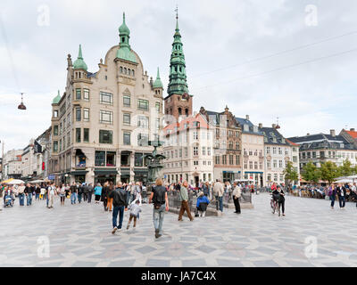 COPENHAGEN - SEPTEMBER, 10: Amagertorv - central square. In 1449 it is referred to as the Fishmonger's Market and - Stock Photo