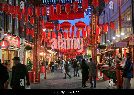 LONDON - JANUARY 20: China Town is decorated by Chinese lanterns during Chinese New Year in London, UK on January - Stock Photo