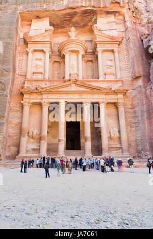 PETRA - JORDAN, FEBRUARY,21: SYmbol of Petra - Treasury Monument and plaza in antique city on 21 February, 2012 - Stock Photo