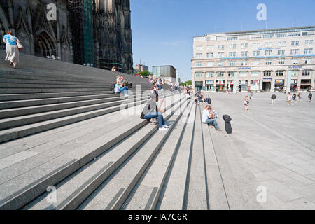 COLOGNE, GERMANY -JUNE 27: Cologne Cathedral. It is Germany's most visited landmark, attracting an average of 20,000 - Stock Photo