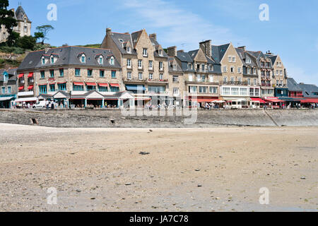 CANCALE, FRANCE - JULY 5: waterfront of town Cancale in summer day. This town is 'oyster capital' of Brittany - Stock Photo