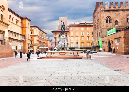 BOLOGNA, ITALY - OCTOBER, 31: Fountain of Neptune on Piazza del Nettuno looking towards Piazza Maggiore.The work - Stock Photo